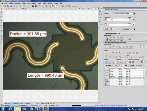 A screen capture shows the user interface of the NIS-Elements 4.20 imaging software, including a right panel with an ample set of measurement tools. Example radius and length measurements are shown on-screen, overlaying a printed circuit image.