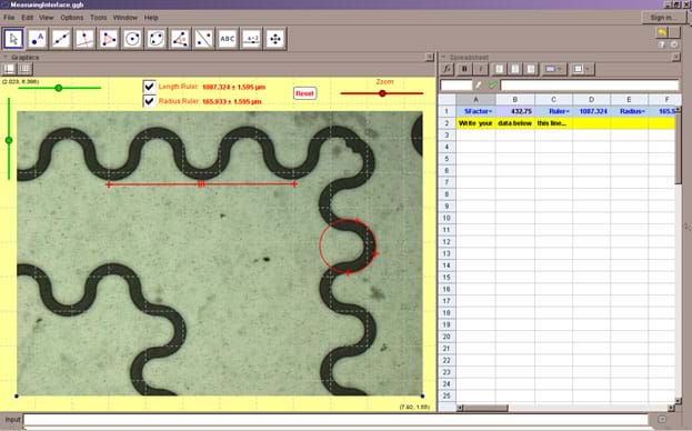 A screen capture shows the interface developed in GeoGebra 4.4.40.0 to simulate measures taken with NIS-Elements imaging software.