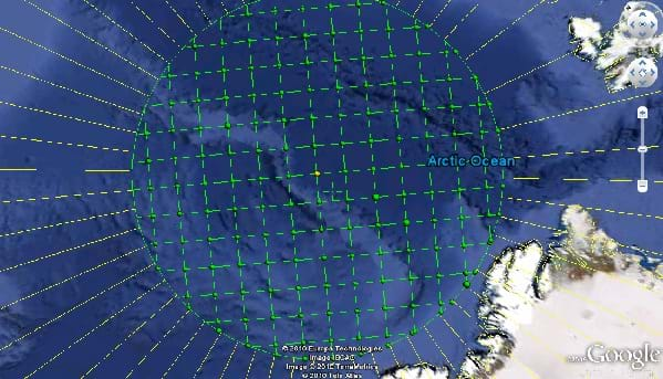 A screen capture of a grid over the North Pole represented by a mass of blue waters in Google Earth.  The grid is contained inside of a circle that contains the polar region, and it is perfectly Cartesian.  The circle extends just to the northern edge of Greenland.
