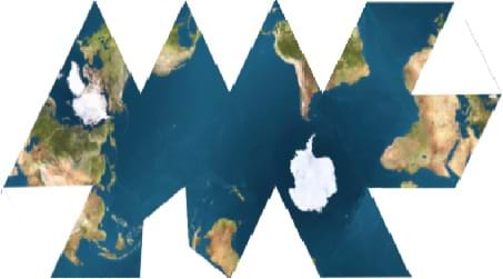 Lands and ocean of the Earth are split apart in a somewhat regular fashion.  Antarctica is in the near center and is whole while all other continents are present but split in various places leaving gaps that are not filled with extra land or water.