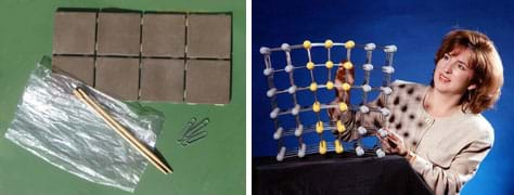 Two photos: Metal paper clips, ceramic tiles, a clear plastic bag and wooden chopsticks. A woman uses her hands to move components of a tabletop-sized 3-D grid object with balls at every intersection.