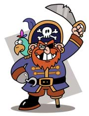 A cartoon caricature of a pirate with a beard, eye patch, a hook instead of a right hand, a wooden peg leg instead of a left leg and a parrot on his shoulder.