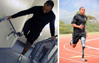 Two photographs: A man in shorts midway up a flight of stairs with hands on the railings, lifts his right leg prosthesis as he climbs up; the prosthesis foot has a laced gym shoe that matches the one on his other foot. A man with a left leg prosthesis runs around a track; the knee-to-ankle portion of the prosthesis looks like a piece of bent metal.
