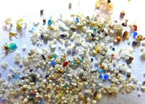 A close-up photograph shows various types, colors and shapes of small plastic particles.