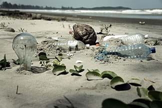 A photograph shows a white sand beach with litter in the foreground: plastic water bottles, a lightbulb and other bits of human-made trash.