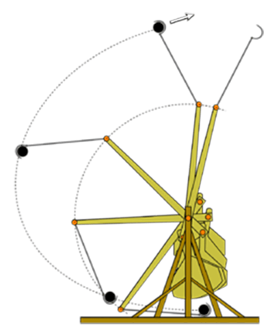 A drawing of a wooden trebuchet as it launches its payload.