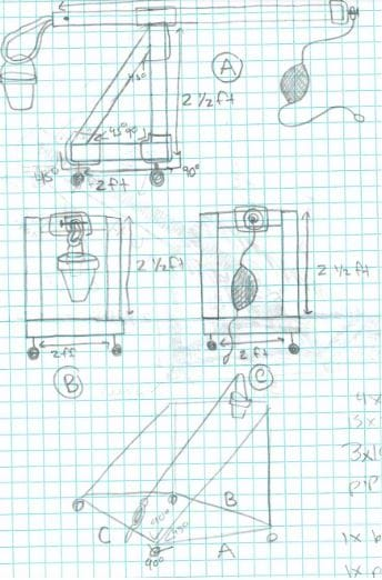 Sketch on graph paper of a trebuchet from side view, front view, and rear view complete with measurements.