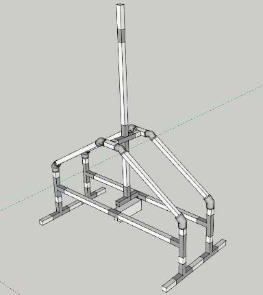 Google SketchUp design of a trebuchet, showing the frame, swing arm, and counterweight.