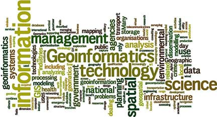 A graphic word cloud that shows a variety of words related to GIS. Larger words are information, geoinformatics and science.