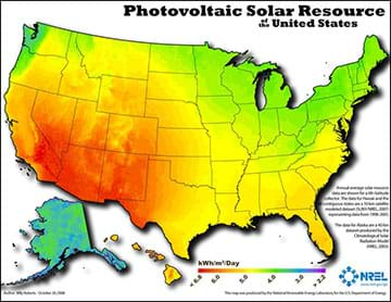 A graphic in map form shows the amount of energy the U.S. receives from the sun on average. Higher amounts of energy are displayed in red and generally include the south and west while lower energy areas are displayed in yellows and greens and tend to be in the north and east. The image was formed using GIS technology.