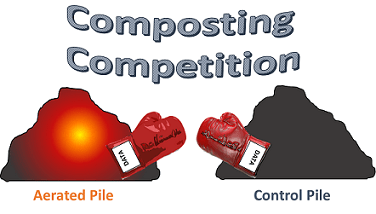 "Under a ""Composting Competition"" banner, a drawing shows two compost piles (aerated vs. control) each with boxing gloves (labeled ""data"")."