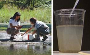 Two photos: Two girls squat near a river as they collect containers of water. A clear plastic cup half-filled with a cloudy brown liquid.