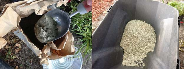 Two photographs: A metal scoop lifts fine gray powder (cement) out of a brown paper bag. A wheelbarrow contains a pile of small and crumbly beige rock pieces (crushed limestone).