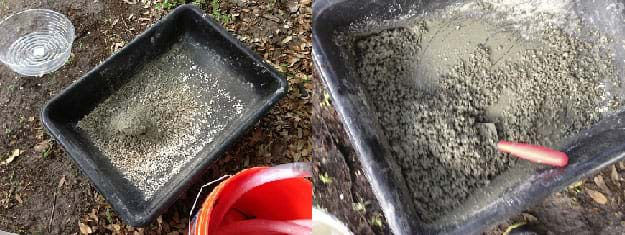 Two photographs show two tubs with wet, mixes of ingredients; looks like wet, chunky globs of unset concrete.