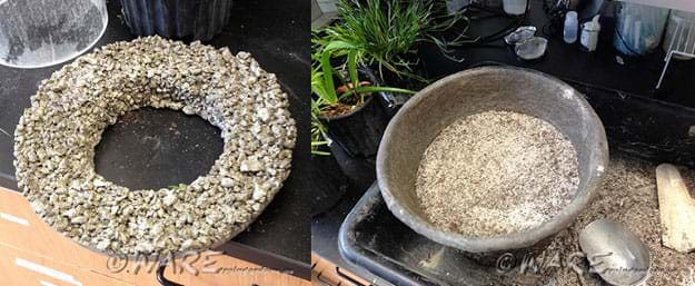 Two photographs: The 12-inch magic sidewalk, which looks like a wreath of high-aggregate (very porous) gray concrete. Its hole dimension is the size of the 1-gallon plant pot. A low, wide coir basket is halfway filled with a dry media mix (sand, soil, pea gravel, mulch) from the previous activity.