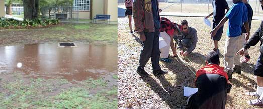 Two photographs: A low-lying muddy and wet grassy area near a school building with a curbed drain and grate in its middle region. Eight students and a teacher use a tape measure and write down dimensions and notes as they survey a potential area for a rain garden in East Tampa, FL.