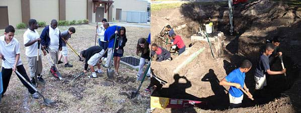 Two photographs show many teenagers making progress in excavating the area of a rain garden on their school campus in East Tampa, FL.