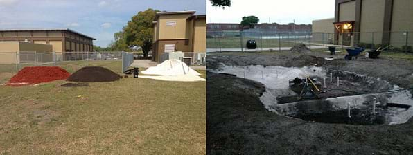 Two photographs show a school yard with four piles: mulch (reddish fibers), topsoil (dark brown), limestone (pale beige), and sand (white). A kidney-shaped depression in the yard near a school with pipes sticking up from a few spots, during construction of a municipality-scale rain garden in East Tampa, FL.