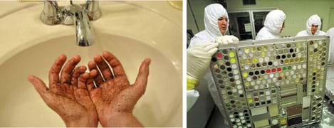 Two photos: A pair of dirty hands under held under a sink faucet. Three people in white coveralls move a metal structure full of slots containing variously colored materials.