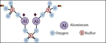 Diagram shows the oxygen, sulfur and aluminum atoms that compose alum, and indicate negative and positive portions.