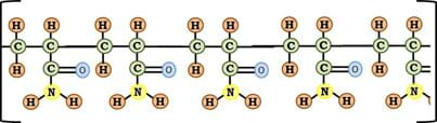 The Figure 5 stick diagram repeated five times and linked together at carbon atoms.