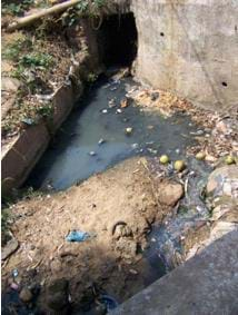 Photo shows dirty water contaminated by wastewater.