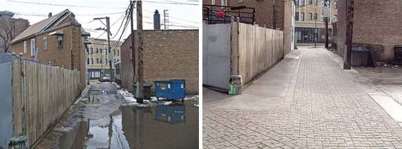Two photographs: An urban alley lined with fences, brick buildings and light poles is mostly covered in standing water from snowmelt. The same alley, now dry, with paving that looks like rectangular cobbles and concrete.