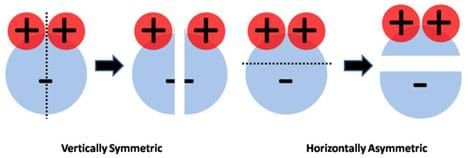 To test for charge symmetry of a water molecule, H2O diagrams are divided in half vertically and horizontally. Only when the molecule is cut in half vertically (separating the two H+s) is a mirror image of the molecule obtained.
