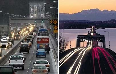 Two photos show traffic passing over bridges in Washington state.