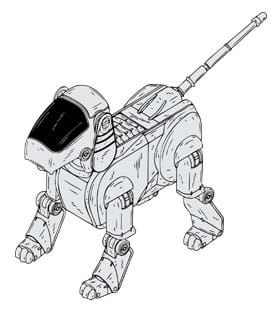 A sketch shows a robot in the shape of a four-legged dog, including hinges for leg joints. The drawing is from patent #6458011 filed in 2001 by inventors Makoto Inoue and Emi Kato for a four-legged entertainment bot called AIBO and made by Sony. See patent at http://www.google.com/patents/US6458011.