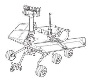A line drawing shows a Mars Rover with five (of six) visible wheels, solar panels, antennae, cameras and other attachments.