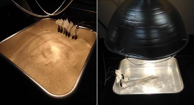 Two photographs: Square metal pans about 3-in deep. One is half-filled with sand and the other is half-filled with water. Lamps are suspended close, above the pans. Probes are hooked on the pan edges, reaching into the sand and water.