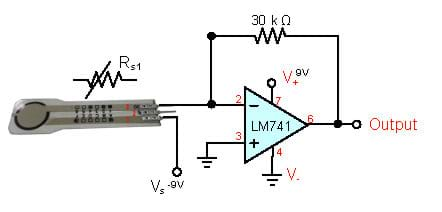 A circuit diagram shows a pressure sensor as a component of a circuit used to convert resistance to output resistance using an op amp and a 30k ohm resistor.