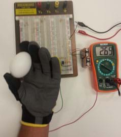 A photograph shows the same setup as Figure 4 but this time a hand is inside the glove and it holds a white egg between thumb and index finger. The connected multimeter reads 2.69.