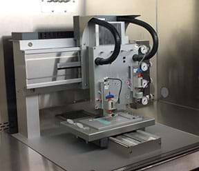 A photograph shows a regenHU 3D bioprinter inside a metal and glass printing area.