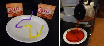 Two photos: A taped-together yellow and purple plastic drinking straw with six bends lies taped flat on a white plate. Boiling red liquid is poured into the same plate, submerging the straw.