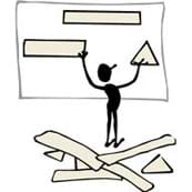 A cartoon of a person in front of a board, changing out shapes to make the best possible fit to solve a problem.