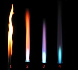 A photograph shows four different flames from a Bunsen burner. Left to right: this flame appears mostly yellow, with orange; next flame is orange and red; next is violet, and the last flame is the smallest and appears bluish-green.
