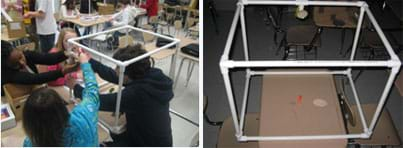 Two photos: (left) A classroom of students working at desks with white piping. (right) Atop a table, a cube shape made with white PVC pipes and corner pieces, with a round mirror attached to one edge and a small, orange-haired troll inside.
