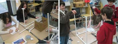 Two photos show two teams of students at grouped desks working with PVC pipes and components in various stages of creating cube-shaped structures.