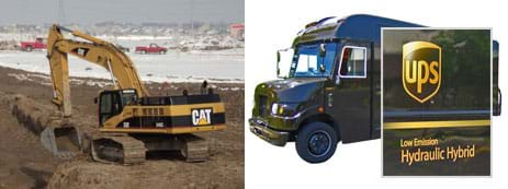 "Two photos: A black and yellow vehicle able to rotate above two tank-like tracks (instead of wheels) digs a trench using a long bendable arm with a scoop/bucket at its end. An industrial-sized dark-brown van superimposed with a close-up of its side panel: a ""UPS"" logo and the words ""Low-Emission Hydraulic Hybrid."""