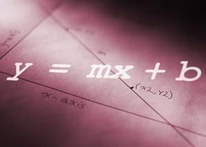 Image shows the slope-intercept form of an equation. y = mx + b