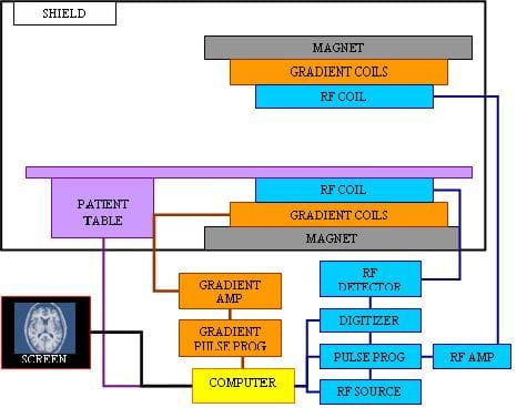 A diagram shows the major MRI hardware components and how they are connected to each other. The top portion illustrates what is included in a hospital's scan room, including the magnet, gradient coils, RF coils, patient table and room shield. Elsewhere, flow chart lines show that a computer controls all components, including gradient amp, gradient pulse programmer, RF detector, digitizer, pulse programmer, RF amp, RF source, and a display screen for controls, interface and the resulting images.