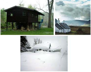Three photos: (bottom) A home with a peaked roof covered in many feet of snow. (left) A low-pitched, river-side home on stilts. (right) White-washed stone buildings sit on an open plain with distant storm clouds.