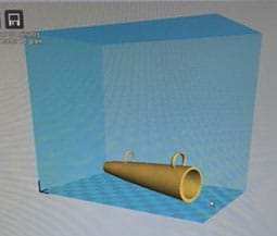 A screen capture shows a computer-generated 3D model of a prototype object that looks like a cone with two side loop attachments.