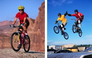 Two photos show a girl riding a mountain bike on a sandstone rock surface, and two boys on BMX bikes high-fiving as they fly through the air over a jump. All are wearing helmets.