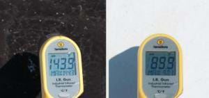 Two photos show temperature sensors on a black surface (143.9°F) and white surface (89.9°F).