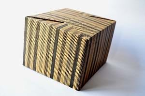 A striped cardboard design package.