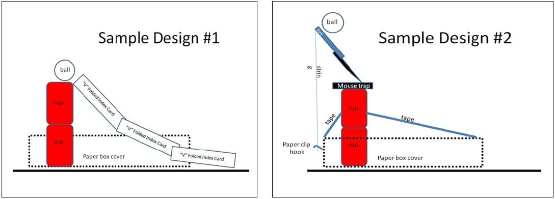 Two drawings, sample design #1 and #2, show side views of launcher devices with materials and dimensions specified.