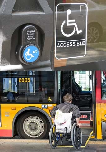 Two photos: A call button for a portable wheelchair ramp. A man in a wheelchair getting on a bus via a wheelchair ramp.